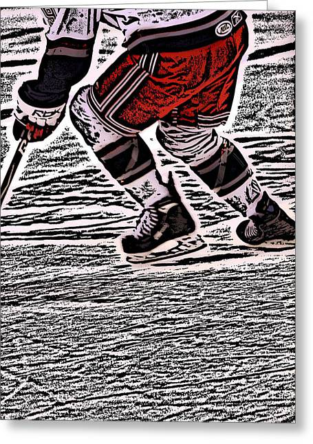 Ice-skating Greeting Cards - The Hockey Player Greeting Card by Karol  Livote