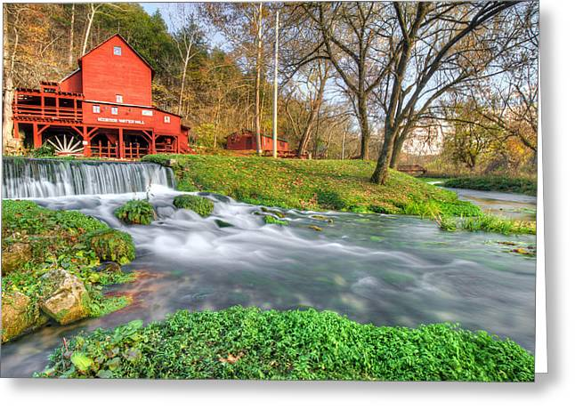 Grist Mill Greeting Cards - The Hodgson Water Mill - Missouri Greeting Card by Gregory Ballos