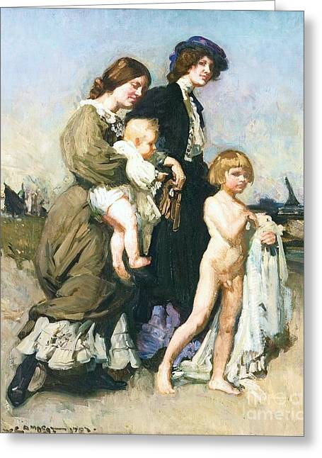 1907 Greeting Cards - The Holiday Group - Bathers Greeting Card by Pg Reproductions
