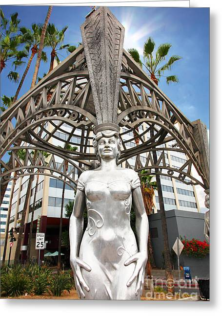 Dolores Greeting Cards - The Hollywood Boulevard Gazebo La Brea Gateway to Hollywood 5D28929 Greeting Card by Wingsdomain Art and Photography