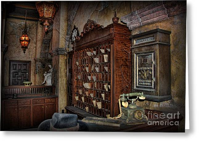 Reception Photographs Greeting Cards - The Hollywood Roosevelt Hotel Reception Desk - Haunted Greeting Card by Lee Dos Santos