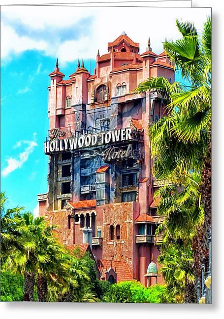 The Hollywood Tower Hotel Walt Disney World Greeting Card by Thomas Woolworth