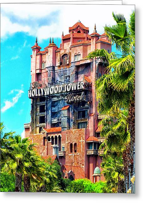 World Showcase Lagoon Greeting Cards - The Hollywood Tower Hotel Walt Disney World Greeting Card by Thomas Woolworth
