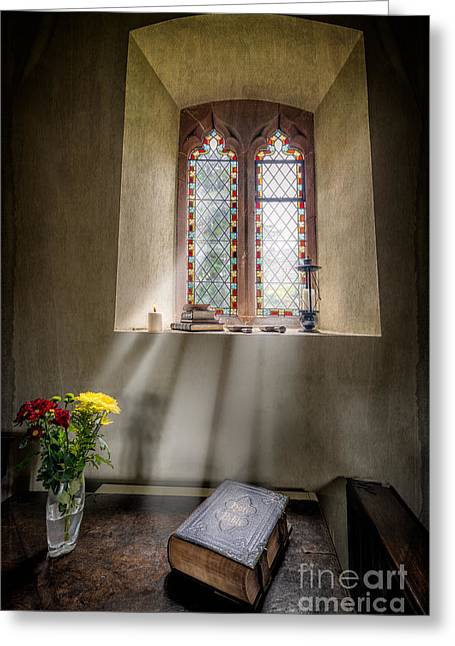 Light Beams Greeting Cards - The Holy Bible Greeting Card by Adrian Evans