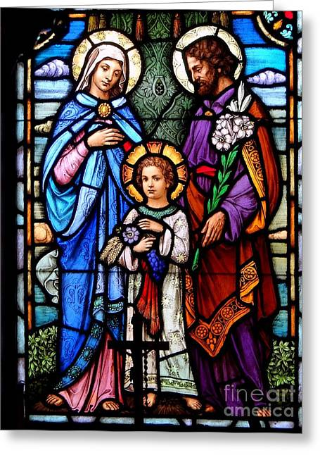 Purple Robe Greeting Cards - The Holy Family Greeting Card by Ed Weidman