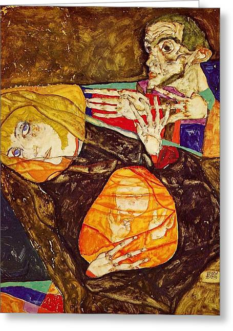 Distortion Paintings Greeting Cards - The Holy Family Greeting Card by Celestial Images