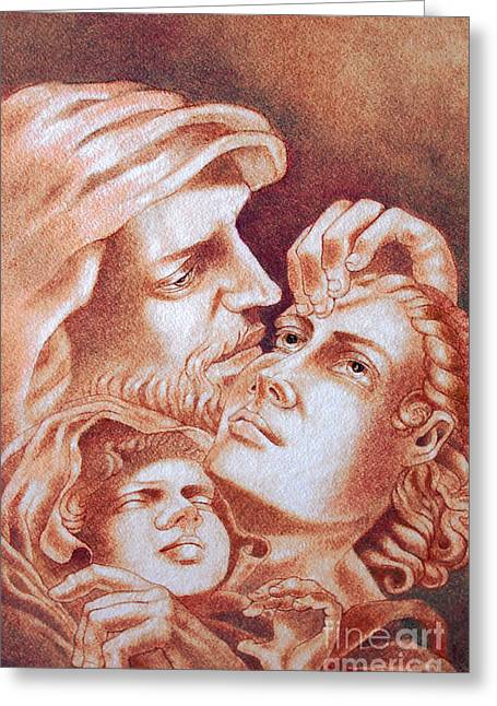 Jesus Pastels Greeting Cards - The Holy Family Greeting Card by Gary Renegar