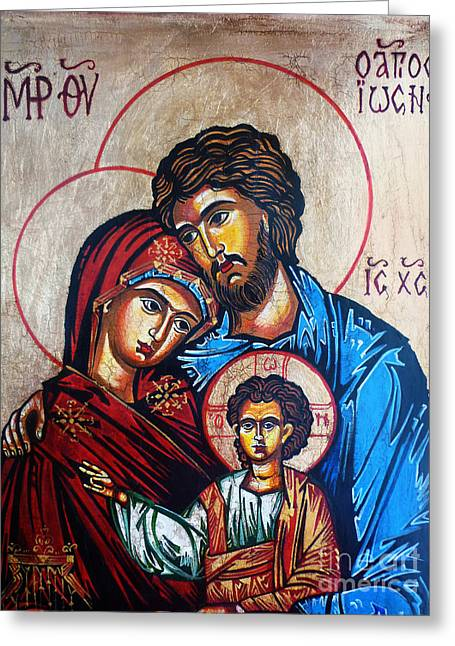 Saint Joseph Greeting Cards - The Holy Family Icon Greeting Card by Ryszard Sleczka