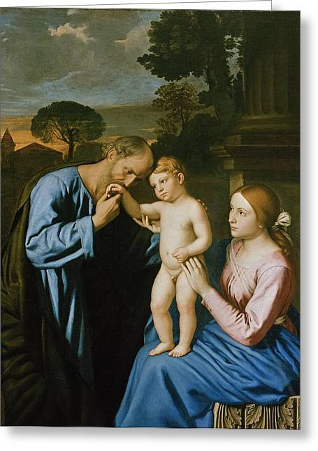 Virgin Greeting Cards - The Holy Family Greeting Card by Il Sassoferrato