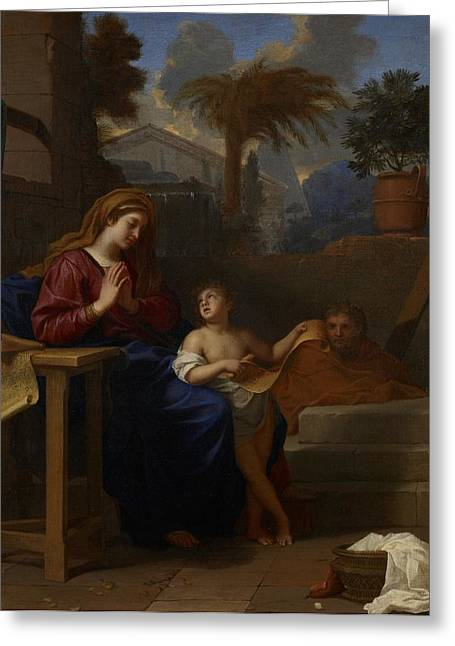 Child In Clouds Greeting Cards - The Holy Family in Egypt Greeting Card by Charles Le Brun