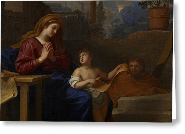 The Holy Family in Egypt Greeting Card by Charles Le Brun