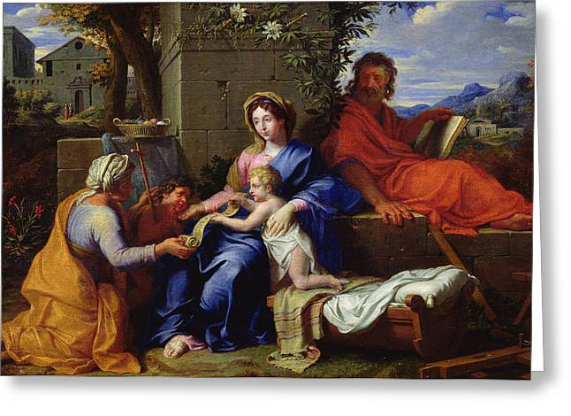 Christ Child Greeting Cards - The Holy Family Greeting Card by Louis Licherie de Beuron