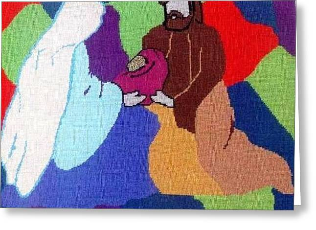 Family Tapestries - Textiles Greeting Cards - The Holy Family Greeting Card by Mona  Bernhardt-Lorinczi