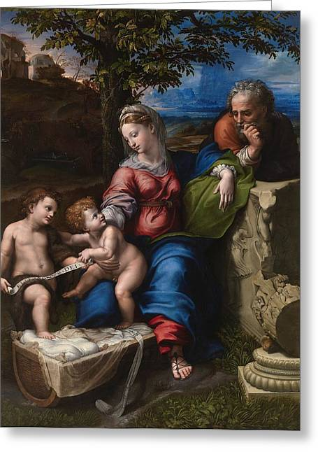 1518 Greeting Cards - The Holy Family with an Oak Tree Greeting Card by Raffaello Sanzio