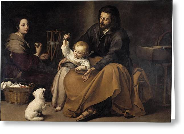 Bartolome Esteban Murillo Greeting Cards - The Holy Family with dog Greeting Card by Celestial Images