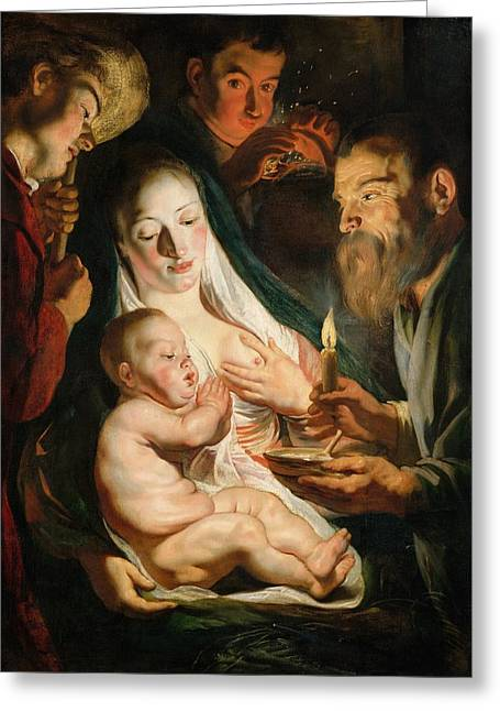 Dutch Shepherd Greeting Cards - The Holy Family with Shepherds Greeting Card by Jacob Jordaens