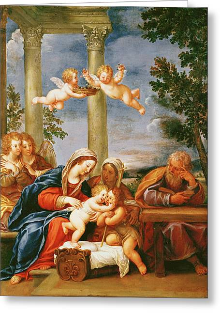 Virgin Mary Greeting Cards - The Holy Family With St. Elizabeth And St. John The Baptist, C.1645-50 Oil On Copper Greeting Card by Francesco Albani