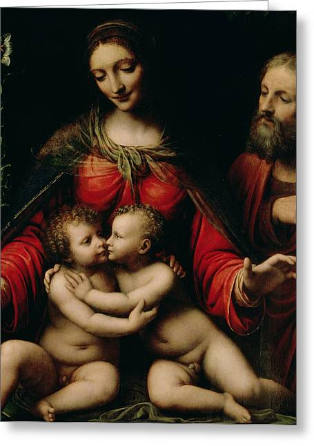 Virgin Greeting Cards - The Holy Family with the Infant St. John Greeting Card by Bernardino Luini