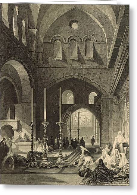 Sepulchre Drawings Greeting Cards - The Holy Sepulchre 1886 Engraving Greeting Card by Antique Engravings