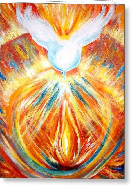 Ying Greeting Cards - The Holy Spirit Within Greeting Card by Sister Rebecca Shinas