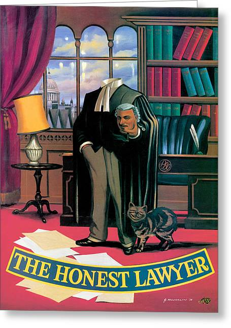 The Honest Lawyer Greeting Card by Peter Green