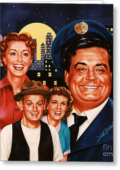 T.v. Comedy Greeting Cards - The Honeymooners Greeting Card by Dick Bobnick