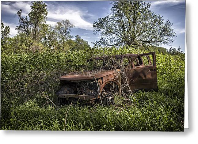 Rusted Cars Greeting Cards - The Hood. Greeting Card by Rob Dietrich