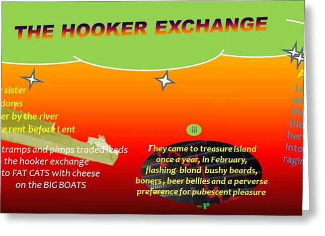 Human Trafficking Digital Greeting Cards - The Hooker Exchange Greeting Card by Pablo