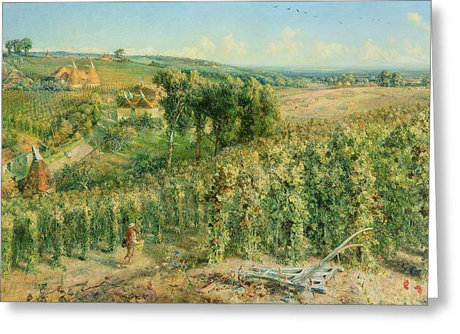 Vineyard Landscape Greeting Cards - The Hop Garden Greeting Card by Cecil Gordon Lawson