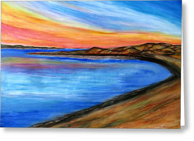 Sand Dunes Pastels Greeting Cards - The Horizon Greeting Card by Daniel Dubinsky