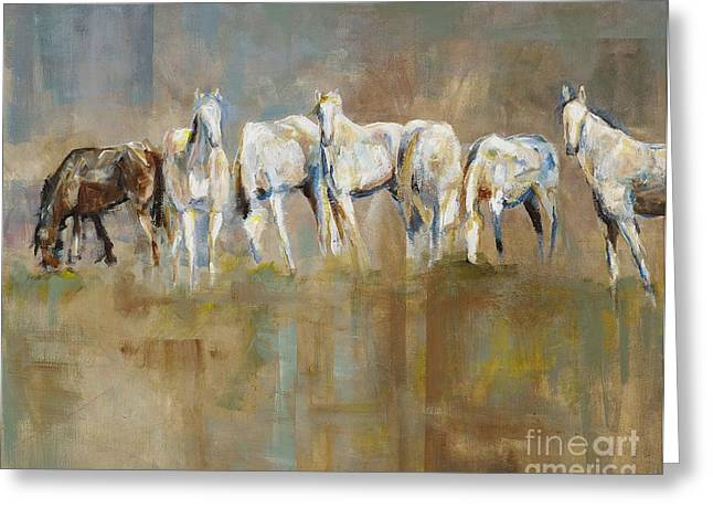 Western Art Greeting Cards - The Horizon Line Greeting Card by Frances Marino