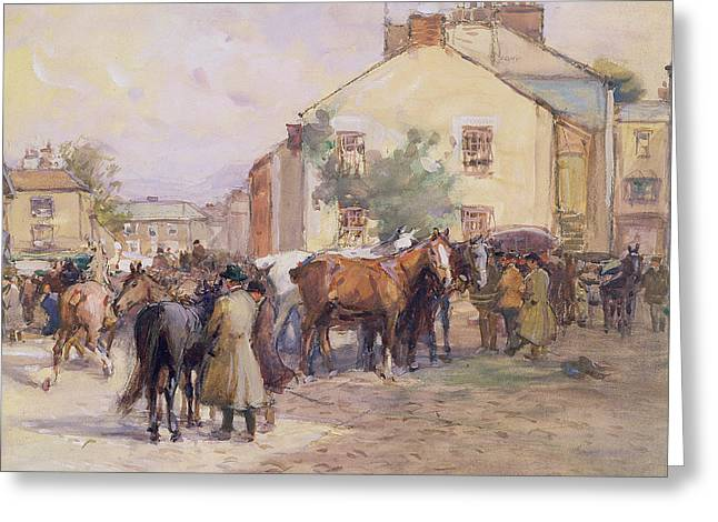 Town Square Greeting Cards - The Horse Fair  Greeting Card by John Atkinson