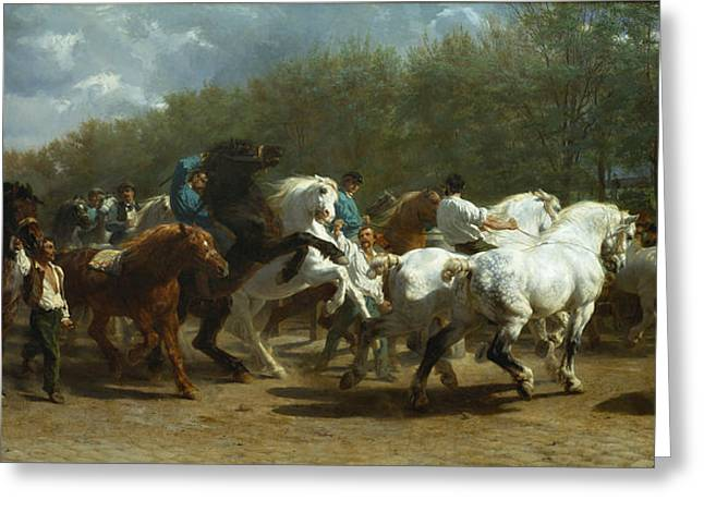 The Horse Greeting Cards - The Horse Fair Greeting Card by Rosa Bonheur