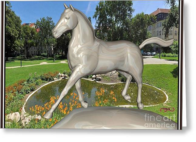 Digital Sculptures Greeting Cards - The horse in the park THITP1 Greeting Card by Pemaro