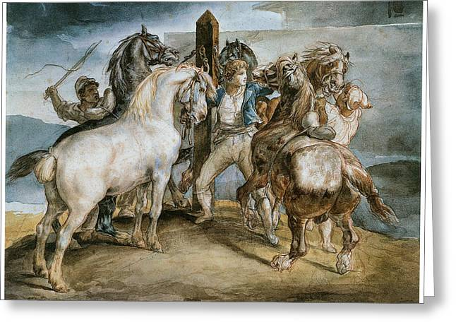 Gericault Greeting Cards - The Horse Market Greeting Card by Theodore Gericault