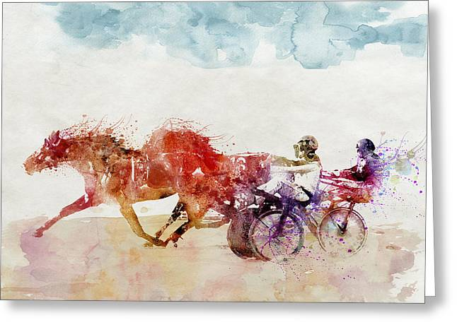 Actions Mixed Media Greeting Cards - Horse Racing watercolor Greeting Card by Marian Voicu