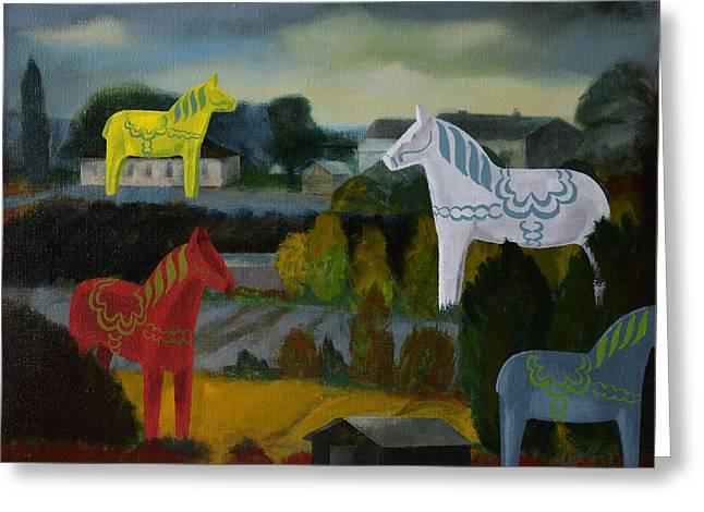 Jukka Nopsanen Greeting Cards - The Horses of the Village Greeting Card by Jukka Nopsanen