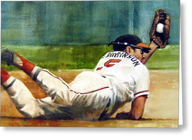 Baseball Paintings Greeting Cards - The Hot Corner Greeting Card by Noah Stokes