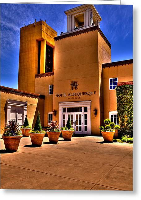 The Hotel Albuquerque Greeting Card by David Patterson