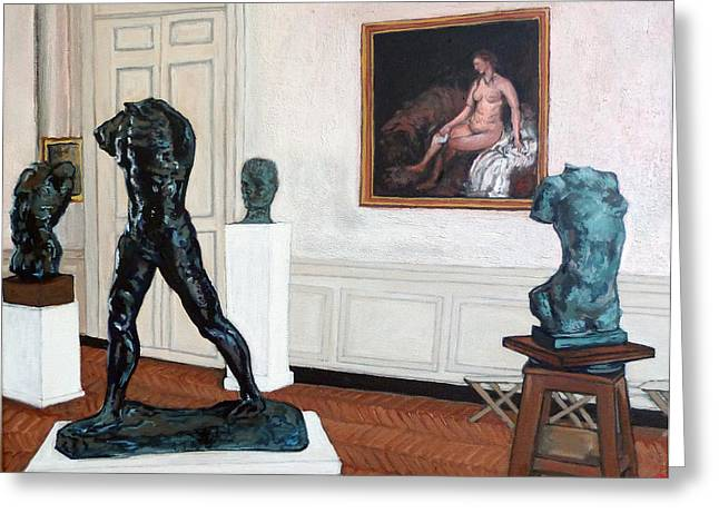 Statue Portrait Paintings Greeting Cards - The Hotel Biron Greeting Card by Tom Roderick