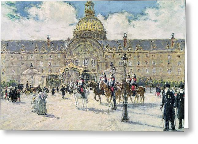 Invalides Greeting Cards - The Hotel des Invalides Greeting Card by Jean Francois Raffaelli