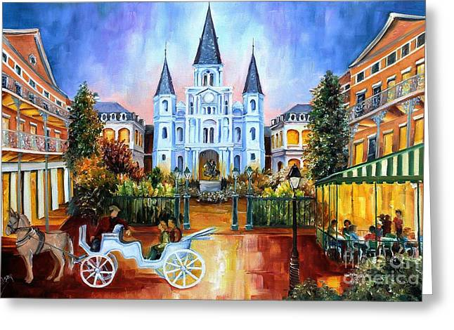 City Buildings Paintings Greeting Cards - The Hours on Jackson Square Greeting Card by Diane Millsap
