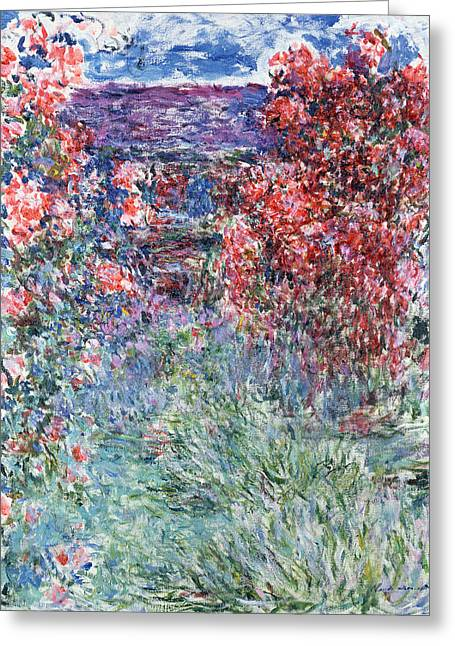 Blue House Greeting Cards - The House at Giverny under the Roses Greeting Card by Claude Monet
