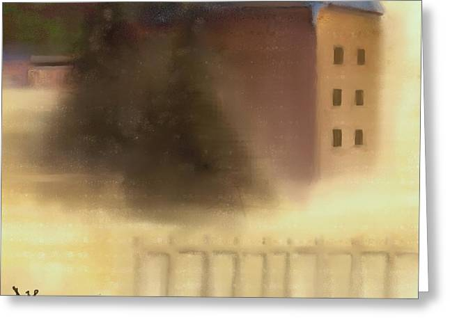 New Greeting Cards - The House Beyond the Fence #C-4 Greeting Card by Diane Strain