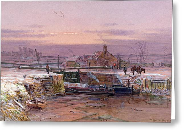 Winter Light Paintings Greeting Cards - The House by the Canal Greeting Card by Charles Brooke Branwhite