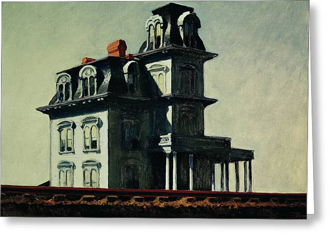 Vernacular Architecture Greeting Cards - The House by the Railroad Greeting Card by Edward Hopper