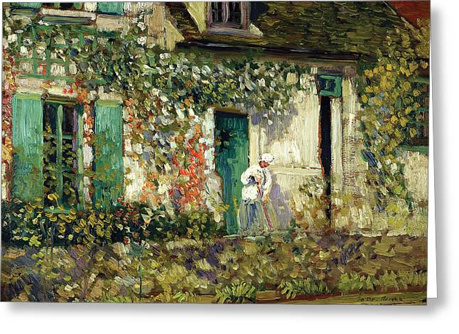 The Houses Digital Greeting Cards - The House In Giverny Greeting Card by Carl Frieseke