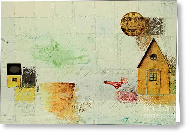 Winter Scene Digital Art Greeting Cards - The House next Door - c04a Greeting Card by Variance Collections