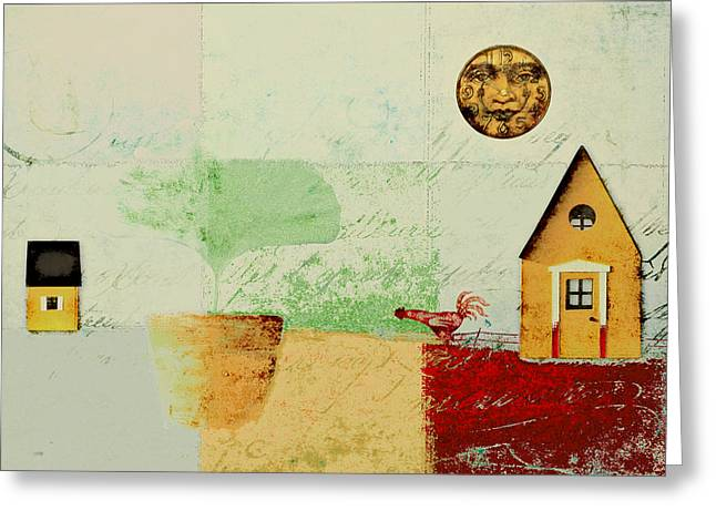 Winter Scene Digital Art Greeting Cards - The House next Door - j191206097-c4f1 Greeting Card by Variance Collections