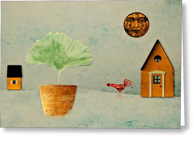 Winter Scene Digital Art Greeting Cards - The House next Door - b11txt2 Greeting Card by Variance Collections